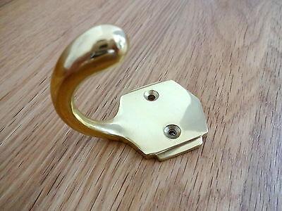 Pair Of Brass Art Deco Coat Hooks Door Knobs Handles 2