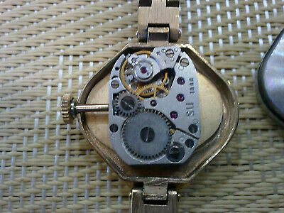 gold plated Vintage Old  women USSR Wrist Watch  LUCH 5