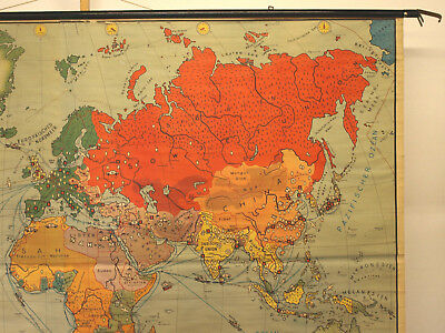 Schulwandkarte schöne alte Erde Weltkarte Deutschland 234x157c vintage map ~1955 5