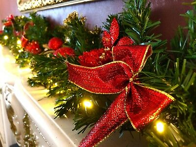 Pre Lit 2 7m 1 8m Red Stairs Fireplace Christmas Garland Led Warm White Lights