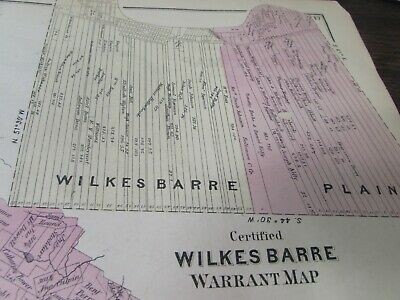 Antique - Warrant Map Southern Part Of Luzerne County Pa  - 1873 - Original 5