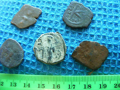 Lot of 5 Ancient Byzantine Copper Coins (A)
