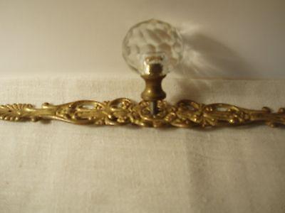 Vintage Art Deco Glass Knob Brass Drawer Fixture 3