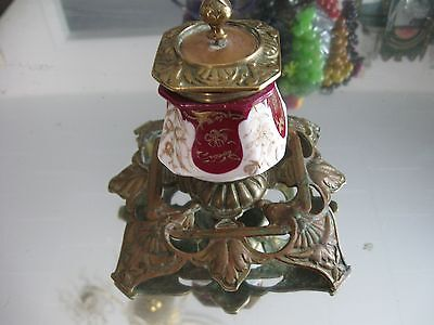Rare Antique 1800'S  French   Gilt Porcelain  Bronze Ink Well 4