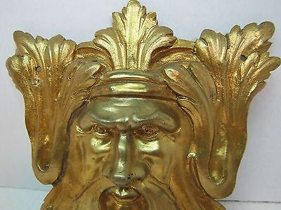Exquisite 19c Antique Brass Figural Face Ornate High Relief Scary Architectural 10