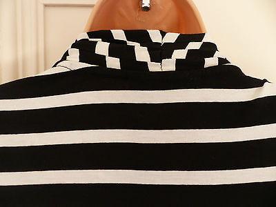 Wallis size 12 black and white striped jersey faux wrap top black vest 12