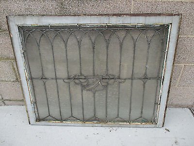 ANTIQUE AMERICAN STAINED GLASS WINDOW 40.25 x 31.25 ~ ARCHITECTURAL SALVAGE ~ 7