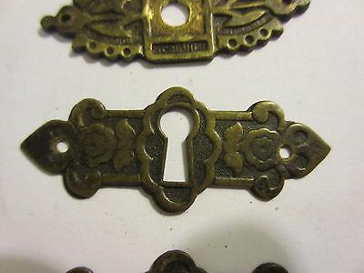 3 Antique Victorian Brass Hardware Drawer pulls Handles key escutcheon B 3