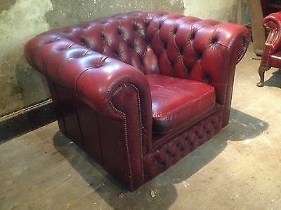 Vintage Chesterfield Armchair ClubChair ButtonBack Fireside Wing OxBloodLeatherx 6