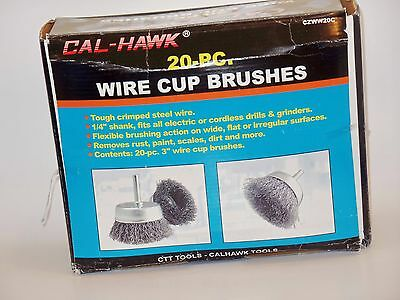 """20pc 3""""   CALHAWK WIRE CUP BRUSH SET  STEEL WIRE WHEEL BRUSHES FOR DRILLS 2"""