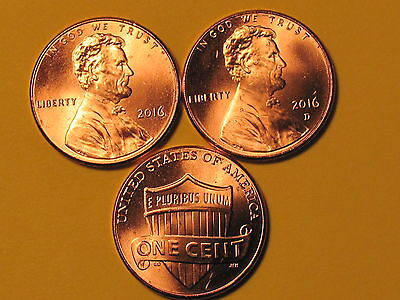 2016 P&D - Lincoln Shield Cent Set - Brilliant Uncirculated Gems 2