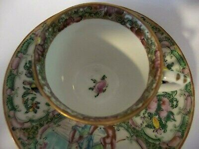 Antique Rose Medallion Cup And Saucer Handpainted Birds And Roses 1800'S 2