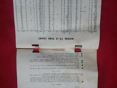 Manual tube tester TC-2 / Tube chart TC-2 / Model tc-2 tube chart Instructions 3