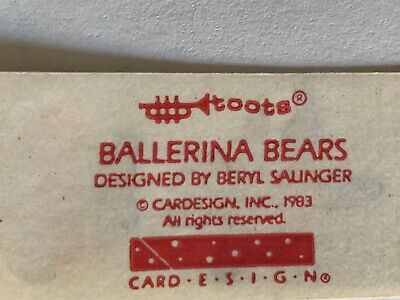 Rare Vintage Stickers - Cardesign -Toots ballerina Bears Dated 1983 3