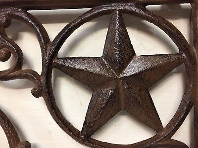 SET OF 2 WESTERN STAR SHELF BRACKET/BRACE, Antique Rustic Brown patina cast iron 4