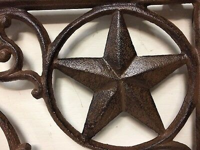 SET OF 4 WESTERN STAR SHELF BRACKET/BRACE, Antique Rustic Brown patina cast iron 5