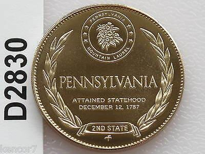 PENNSYLVANIA Uncirculated Franklin Mint Beautiful Solid BRONZE State Coin