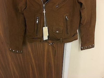 Diesel L-Ulisse Brown Studded Leather Jacket For Boys & Girls 8Yrs Rrp £399 6