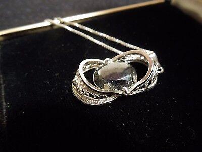 401744748258 Zeidell\u2019s Vintage Sterling Silver Hematite Filigree Pendant Necklace Nc 576