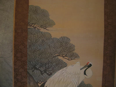 Vintage Possibly Antique Japanese Signed Scroll Painting of Bird / Crane