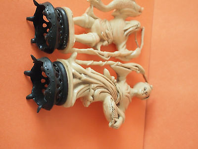 VINTAGE RESIN IVORY Color Figurines, Asian Woman and Man Carrying