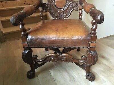 Renaissance Revival Carved Oak Ball And Claw Leather Library Desk Throne Chair 12
