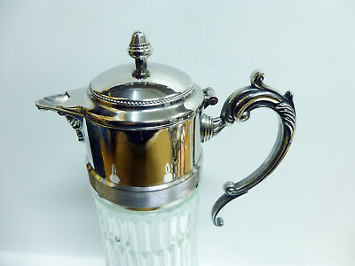 """Antique Silver Plated """"EP Zink Italy"""" 14in Glass Water Pitcher w/ Ice Container 2"""