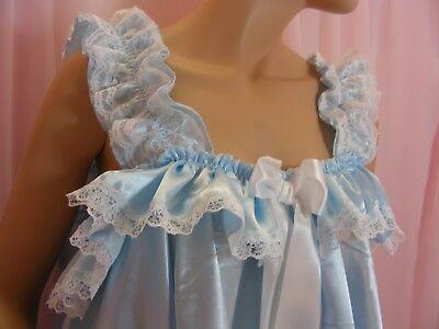 ADULT baby sissy blue satin babydoll negligee nightie dress fancydress unisex 7