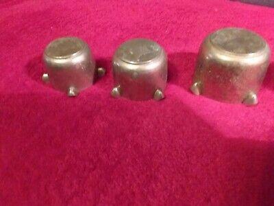 4 kleine alte schwere Bronze/Messing MÖRSER - Aschenbecher 9
