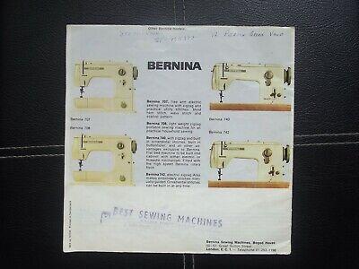 Bernina Record sewing machine Sales brochure 1960's 6