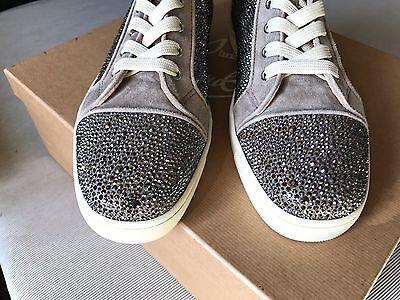 f1db968ec0ac ... Mens Christian Louboutin Suede Gray Swarovski Strass Sneakers Size 41.5  ( 3295) 2