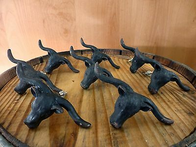 8 BLACK STEER BULL DRAWER CABINET PULL HANDLE KNOB VINTAGE-STYLE WESTERN decor 3