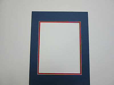 Picture Frame Double Mat 11x14 For 8x10 Photo Blue With Red Liner