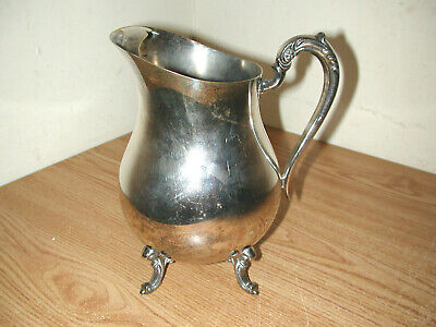 Vintage F.b. Rogers Silver Plated Footed Water Pitcher With Ice Guard 4