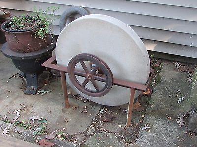 Antique Grinding Stone Wheel Industrial Iron Steampunk Garden Sculpture 4