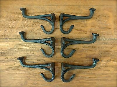 """6 BROWN BLACKSMITH STYLE WALL HOOKS RUSTIC ANTIQUE LOOK CAST IRON 4"""" hardware 3"""