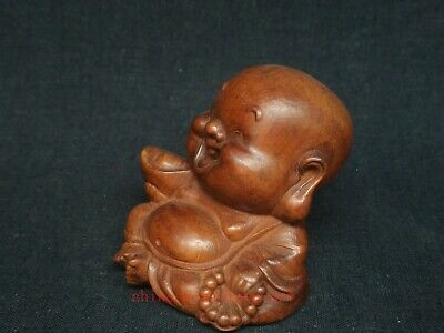 Collect Ancient China Boxwood Wood Hand Carved Happy Buddha Statue Decoration 3
