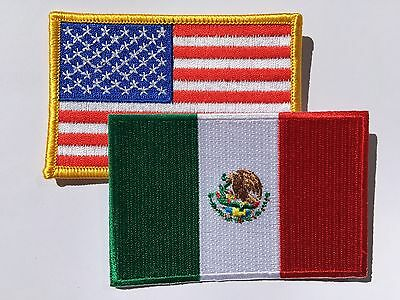 """AMERICAN FLAG & MEXICAN FLAG EMBROIDERED PATCH IRON-ON SEW-ON MEXICO  (3½ x 2¼"""") 2"""