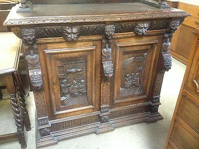 Carved Victorian Oak Library Bookcase Angel Dresser GreenMan LionsHead PussyOak1 6