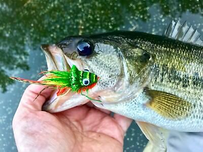 Dancing Frog Red and White x 3 Bass, Pike, Trout, Muskie Fly Fishing Flies