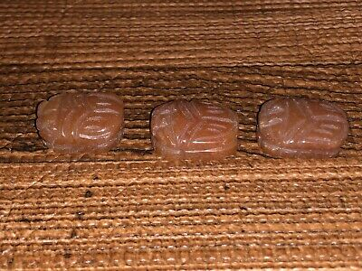 Three (3) Larger Antique Egyptian Carved Carnelian Stone Scarab Beads Pendants 5