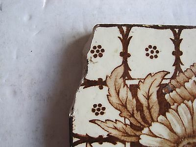 Antique Victorian J.h. Barratt Floral Transfer Print Wall Tile Brown On Cream 3