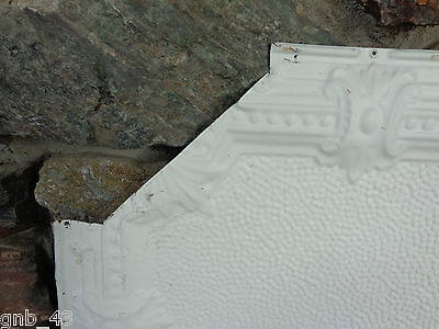 "1900's Antique Partial Tin Ceiling Tile 24"" x 24"" Painted Antique White #CT4 2"