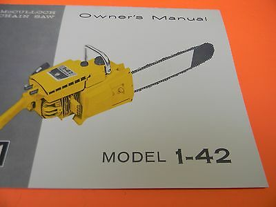 mcculloch chainsaw model 1-42 1 - 42 owners manual -----