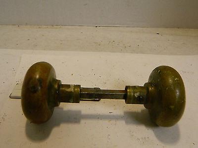 """Antique Victorian Brass Door Handles 2.25"""" x 2"""" Very Good Condition 2"""