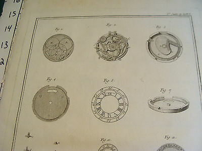 "Original engraving 1760's 10 1/2 x 16"" montre a equation a repetion et a seconde 2"