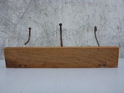 alte Hakenleiste Garderobe Garderobenhaken Wandgarderobe Kleiderhaken Holz braun 9