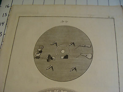 "Original engraving 1760's 10 1/2 x 16"" CADRETURE DE LA PENDULE DEQUATION DE JULI 2"