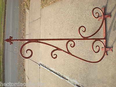 "SALE Large 55"" 1800s Antique Wrought Iron Sign Bracket Cream City Brick Milwauke 2"
