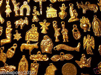 50 GOLD Import Mexican Milagros Shiny Good Luck Ex Votos Dijes Miracle Charms 3